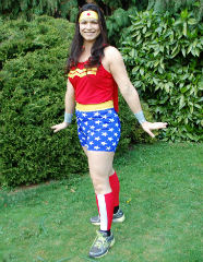 Cllr Lisa Rajan tests out her Wonder Woman costume ahead of the marathon!